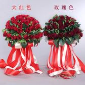 新娘手捧花緞帶手捧花仿真婚禮 新娘伴娘玫瑰花婚禮攝影道具韓式   泡芙女孩輕時尚