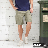 【JEEP】潮流簡約口袋短褲-橄欖綠