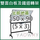 【耀偉】雙面白板及鐵迴轉架150*90 ...