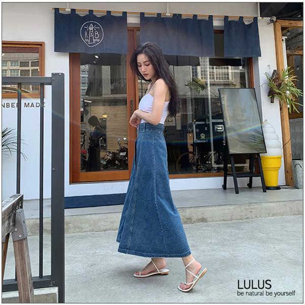 LULUS-C前排釦傘擺牛仔長裙-附腰帶S-L-藍  【05030780】