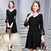 大尺碼洋裝 女裝秋季新款V領顯瘦打底裙時尚繡花長袖連身裙 EY4898『M&G大尺碼』