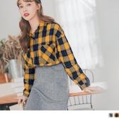 《AB11179》暖感磨毛格紋袖側排釦設計襯衫 OrangeBear