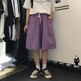 五分褲紫色短褲女2020新款夏寬鬆過膝蓋港味純棉過膝直筒闊腿中褲五分褲 童趣屋