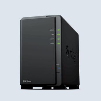 Synology DiskStation DS218play 個人多媒體資料庫2bay網路儲存NAS【附ST10000VN0004硬碟*2】