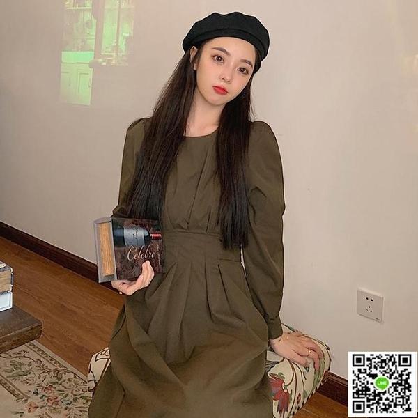 大尺碼女裝秋裝2020新款法式復古修身收腰顯瘦長裙女胖mm大碼圓領氣質連衣裙大碼連身裙