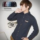 柒零年代【N8762J】都會感口袋皮標無印感素面長袖襯衫(JK3412)hipster