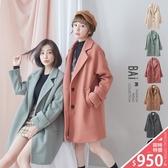 外套 紮實微厚款毛呢料排釦翻領大衣-BAi白媽媽【195284】