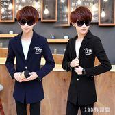 中大尺碼西裝外套 長袖西裝男青少年韓版修身中長款風衣西服男士單西薄款LB8994【123休閒館】