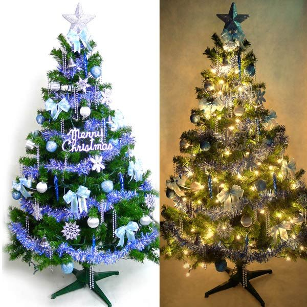 台灣製 6呎 / 6尺(180cm)豪華版裝飾綠聖誕樹 (+藍銀色系配件)(+100燈鎢絲樹燈2串)(本島免運費)