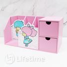 ﹝雙子星45週年筆筒二抽盒﹞正版 二抽盒 收納盒 置物盒 木櫃 雙子星〖LifeTime一生流行館〗