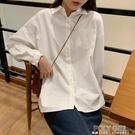 白色寬鬆長袖襯衫女秋外穿百搭復古港味棉麻設計感小眾白襯衣上衣 夏季新品