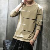 男士長袖t恤韓版潮流薄款圓領體恤衫秋季新款帥氣修身上衣服男裝