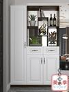 屏風櫃 鞋櫃進門風水玄關櫃一體客廳鏤空屏風簡約現代入戶置物架『黑色妹妹』