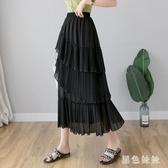 不規則壓褶荷葉邊雪紡半身裙女夏2020新款高腰中長款百褶裙長裙子 LF5196『黑色妹妹』