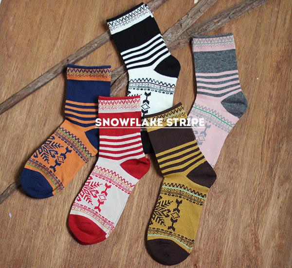 襪子【FSW042】條紋雪花中筒襪 SORT