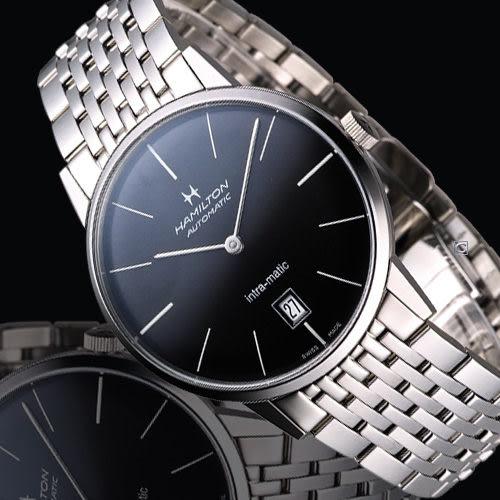 Hamilton Intra-Matic 優雅復刻機械腕錶(H38455131)黑面 鋼帶款
