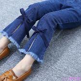 童裝春裝女童流蘇喇叭褲新款韓版兒童百搭彈力牛仔褲潮中大童