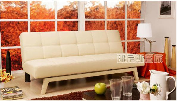 【班尼斯國際名床】~Design-魔術方塊3D曲線-乳膠皮革多人座優質沙發床!