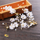 韓式頭飾 絹紗仿真花朵發飾 森女珍珠盤發頭花配飾品【週年店慶好康八折】