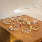珍珠食指戒指女潮時尚個性開口小眾設計組合尾戒【倪醬小舖】