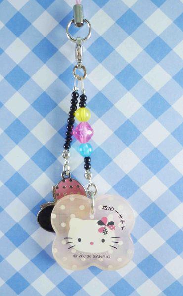【震撼精品百貨】Hello Kitty 凱蒂貓~KITTY手機吊飾-和風系列-蝴蝶黑珠鍊