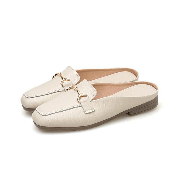 懶人拖-真牛皮簡約鍊飾穆勒鞋