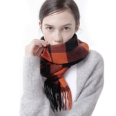 羊毛披肩-流蘇拼色方格保暖女圍巾7色73wq2【時尚巴黎】