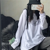 T恤長袖 秋裝2021新款韓版原宿風白色打底百搭上衣學生寬鬆長袖T恤女潮【快速出貨八折搶購】