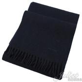 茱麗葉精品【全新現貨】PRADA USC182 刺繡LOGO羊毛混紡流蘇長圍巾.深藍