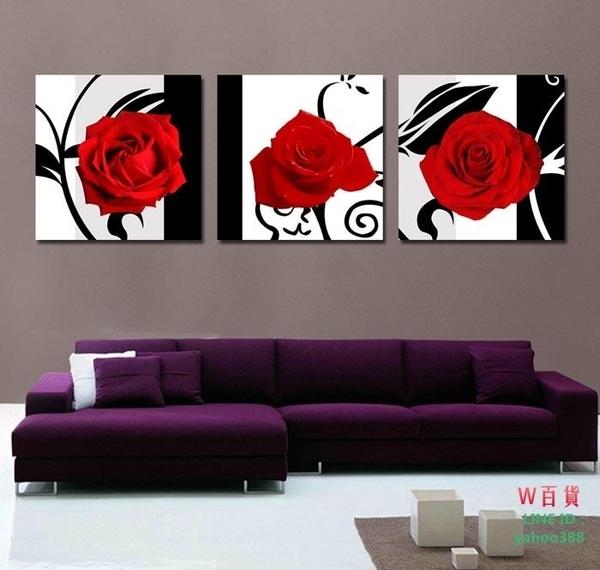 無框畫裝飾畫客廳沙發背景裝飾客廳三聯壁畫掛畫玫瑰