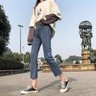 牛仔褲 直筒牛仔褲女2020秋新款高腰彈力顯瘦九分褲韓版網紅修身闊腳女褲