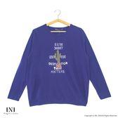 【INI】青春溫暖、舒適棉好感長袖上衣.藍色