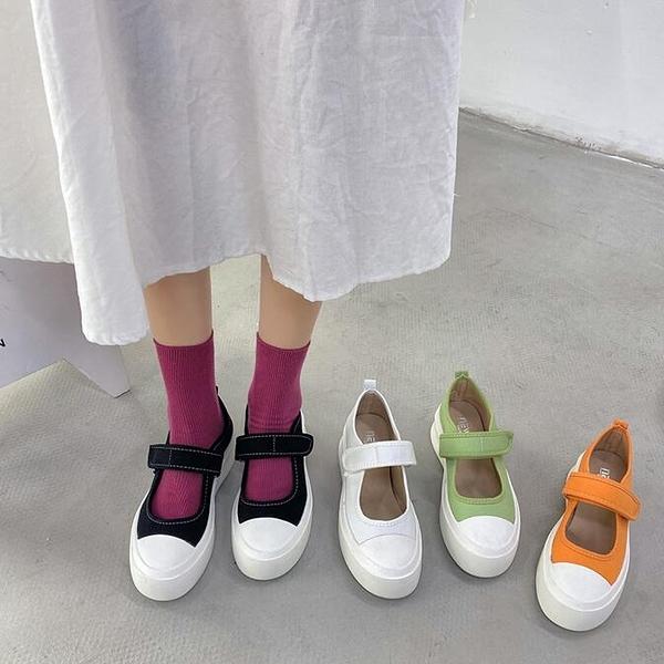 網紅大頭瑪麗珍單鞋女夏季新款百搭魔術貼厚底增高帆布鞋布鞋 【快速出貨】