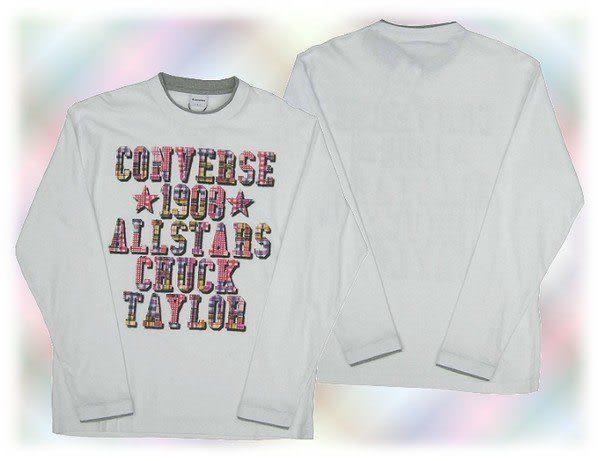 【波克貓哈日網】長袖假2件T恤◇ CONVERSE ◇《優雅白色》