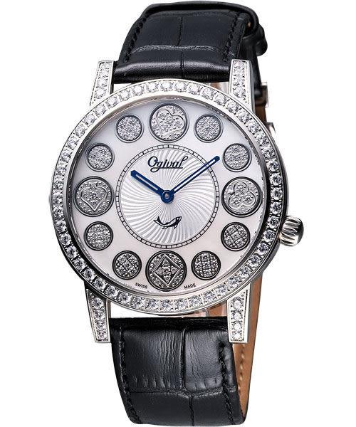 Ogival 愛其華 時來運轉珍珠貝晶鑽腕錶-白貝/黑 3355DGS皮