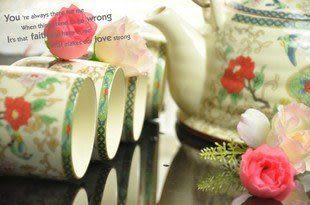 景德鎮陶瓷正品7頭家用提梁大茶具花鳥 帶過濾網