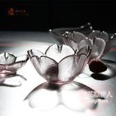 日式櫻花瓣小碟家用粉色水晶玻璃小碗調味碟mj3972【棉花糖伊人】