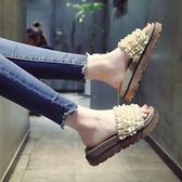 鬆糕厚底拖鞋 百搭外穿一字涼拖鞋沙灘鞋【多多鞋包店】z7882