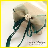 韓版綠色絹紗蝴蝶結發夾DIY發飾頭花學院風發卡手工 居享優品