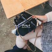 包包女民族風鍊條流蘇水桶包時尚撞色潮流單肩斜跨小包包  伊莎公主