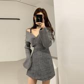 VK精品服飾 韓國風性感大v領露肩顯瘦百搭長袖上衣