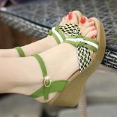 雪地意爾康2020新款涼鞋女夏季厚底楔形真皮高跟厚底鬆糕草編百搭女鞋