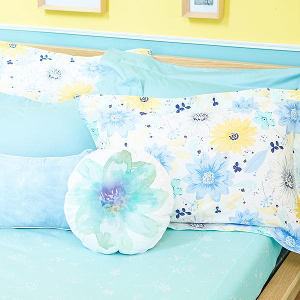 HOLA 采漾純棉歐式枕套2入藍
