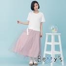 betty's貝蒂思 圓領拼接條紋網紗洋裝(白色)