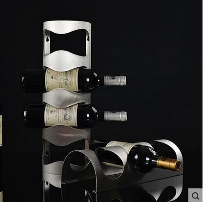 設計師美術精品館不銹鋼紅酒架 壁掛葡萄酒架 懸掛酒瓶架 歐式創意酒架擺件