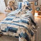 藍色大理石  D2雙人床包雙人薄被套四件...