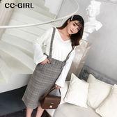 中大尺碼  (可拆吊帶)格紋長裙(附腰帶) - 適XL~5L《 67182H 》CC-GIRL