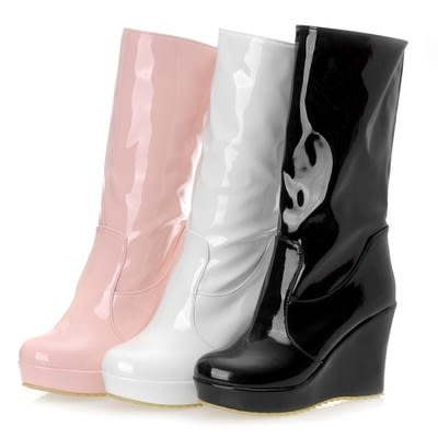 圓頭漆皮坡跟超高跟中筒靴騎士靴女靴-黑/白/粉34-39【no-521531995057】