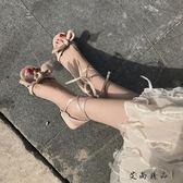 綁帶高跟 帶羅馬百搭仙女露趾高跟鞋