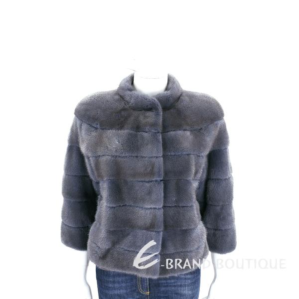 GRANDI furs 灰藍色立領皮草外套 1710175-85